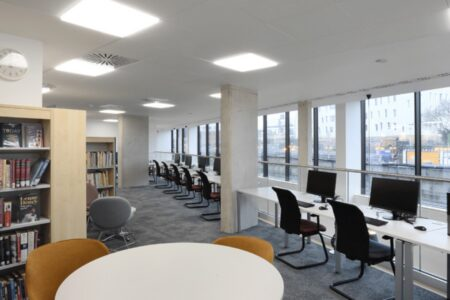 Workspace and seating at Harrow Library