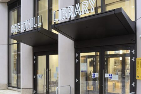 The front entrance to Harrow Library