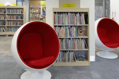 Quirky seating in the kids corner of Harrow Library