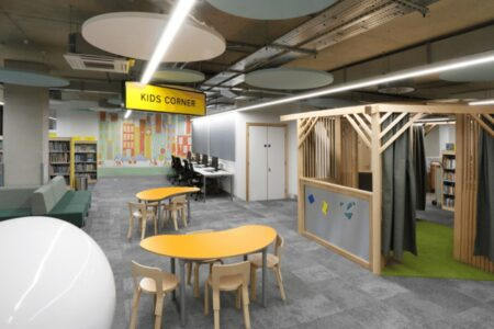 The kids corner in the new Harrow Library