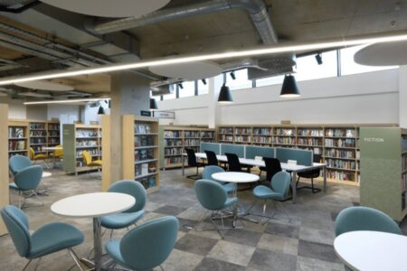 Seating and learning spaces inside Harrow Library